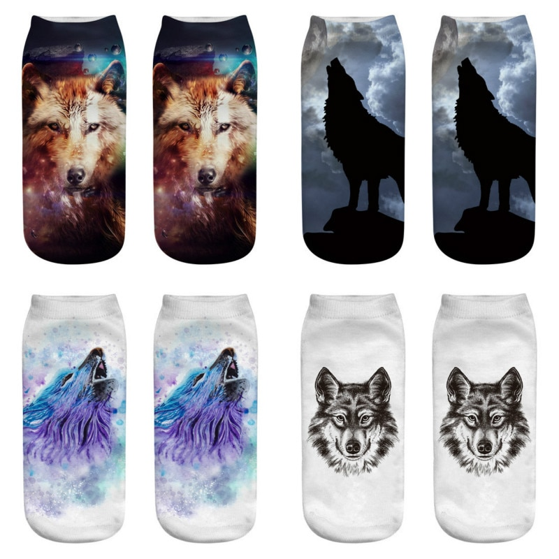 2019 meias femininas bonito casual meias de algodão 3d lobo cabeça imprimir meias esportivas médias confortáveis engraçado kawail respirável skarpet