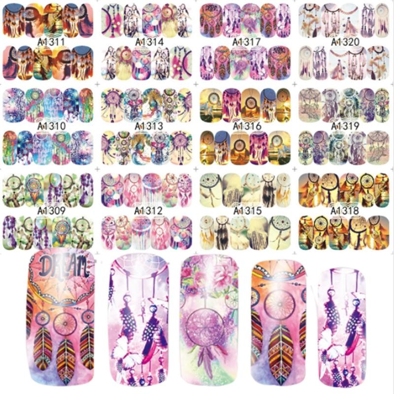 12 diseños mezcla búho atrapasueños helado pastel Nail Art transferencia de agua pegatina para arte de uñas tatuaje Slider etiqueta A1309-1320