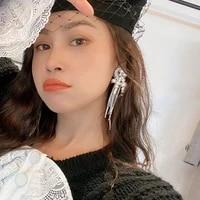 hyperbole handmade women earrings crystal statement earrings for women hiphop jewelry pearl earring rhinestone tassel earrings