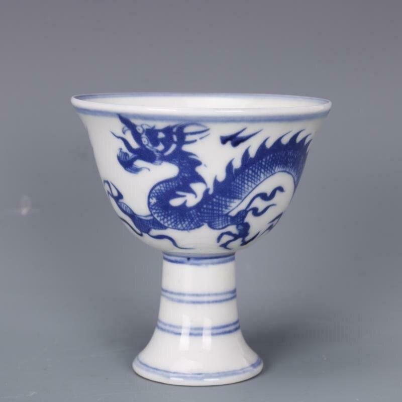 الخزف الصيني الأزرق والأبيض الصين مينغ التنين تصميم كأس الخمور 3.3 بوصة