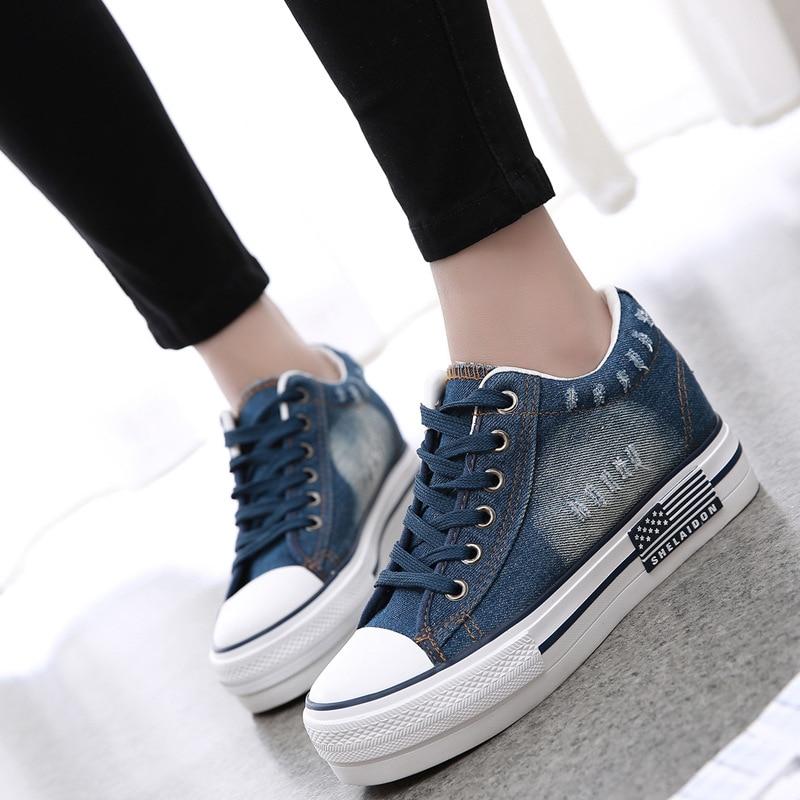 SWYIVY femmes baskets 2019 toile chaussures printemps/automne Denim chaussures décontractées femmes plate-forme baskets bleu vulcaniser femme Sneaker