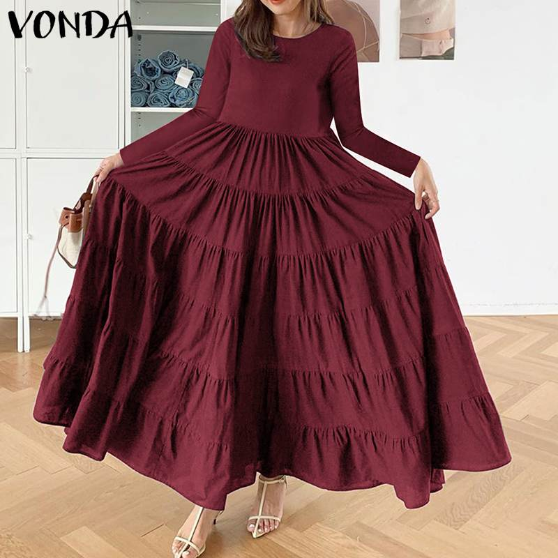 bohemian women maxi long dress 2019 vonda summer o neck long sleeve pattern print dresses casual loose party vestidos plus size Long Maxi Dress Women'Party Vestidos Plus Size VONDA Casual Long Sleeve Vintage Solid Dresses Bohemian Sundress Long Robe 5XL
