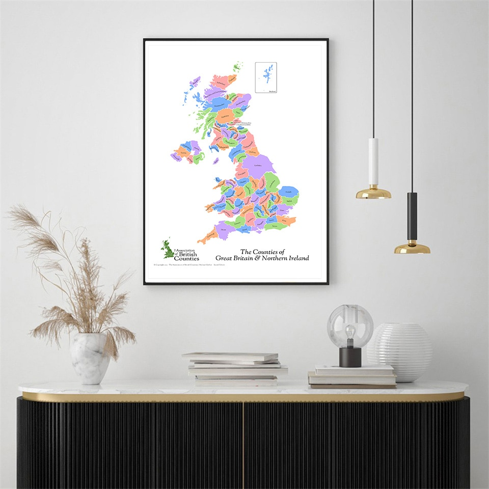 59*84cm The Great Britain and Northern Ireland Map Canvas Painting Wall Poster Living Room Home Decor Travel School Supplies