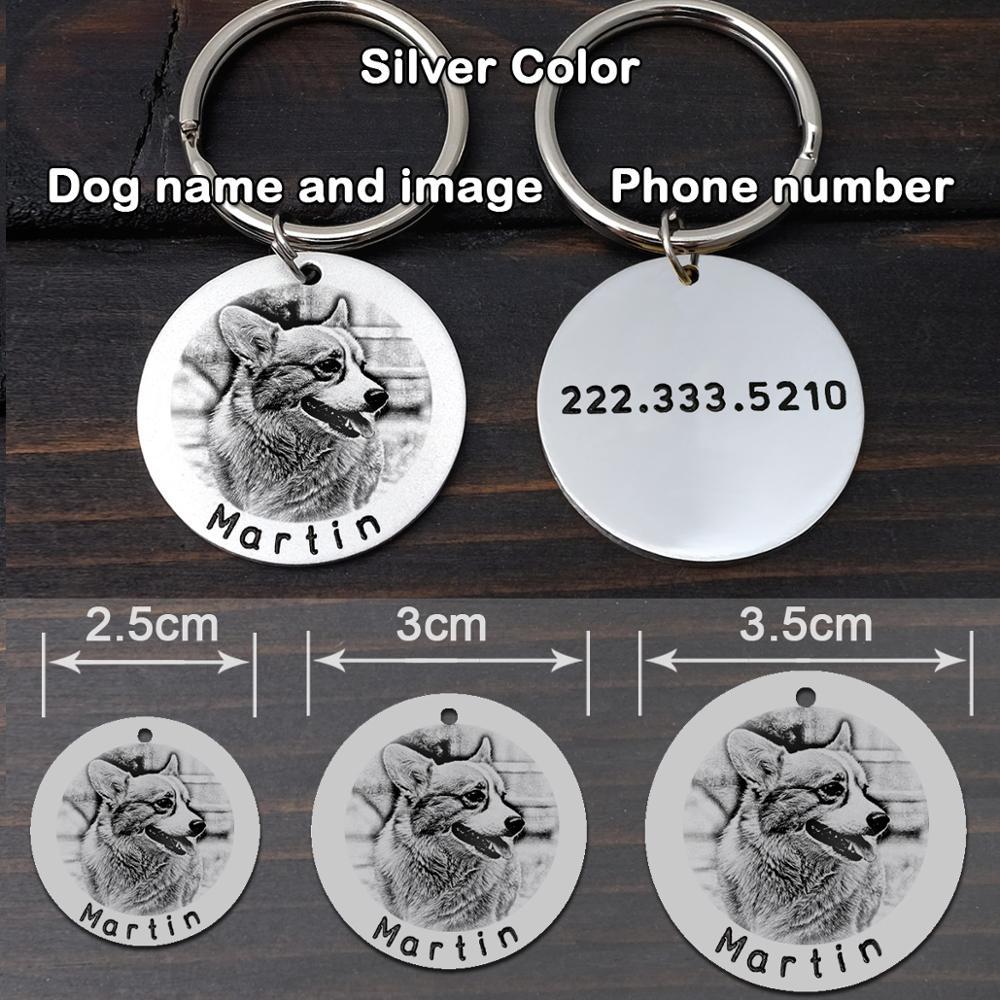 Купить с кэшбэком Custom Dog Portrait Tag,Your Dog Photo Tag,Engraved Pet Dog ID Tag,Dog Tag,Cat Tag,Photo Pet Name Tag