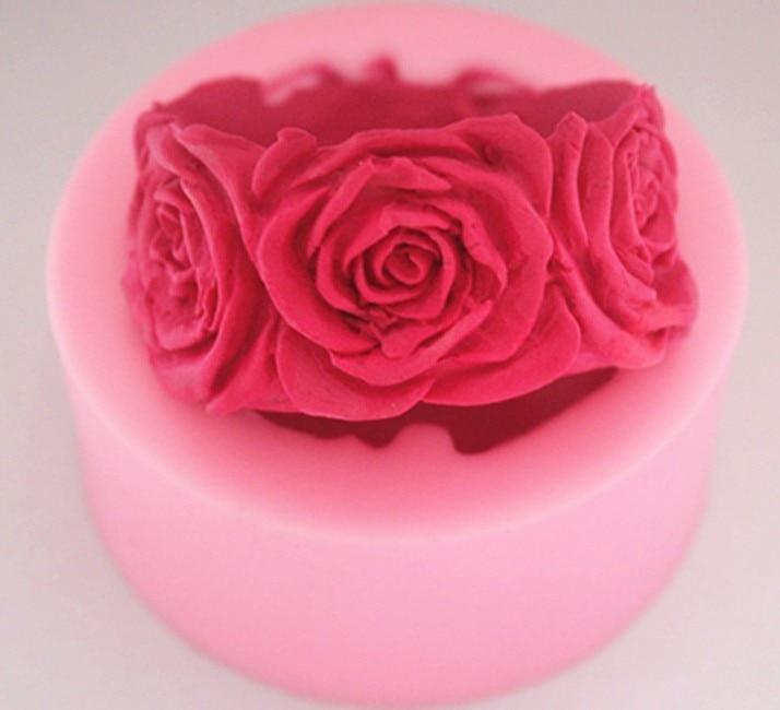 Силиконовая форма в виде розы формы для мыла 3D Свеча ручной работы форма цветок помадка для шоколада, желе, конфет форма Gumpaste для изготовлен...