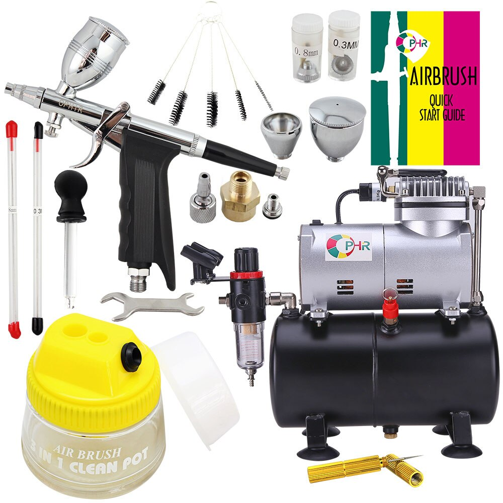 OPHIR 0.3mm 0.5mm 0.8mm Airbrush Gun Dual-Action Airbrush Kit Air Compressor Tank with Cleaning Tools for Makeup Paint AC090+069