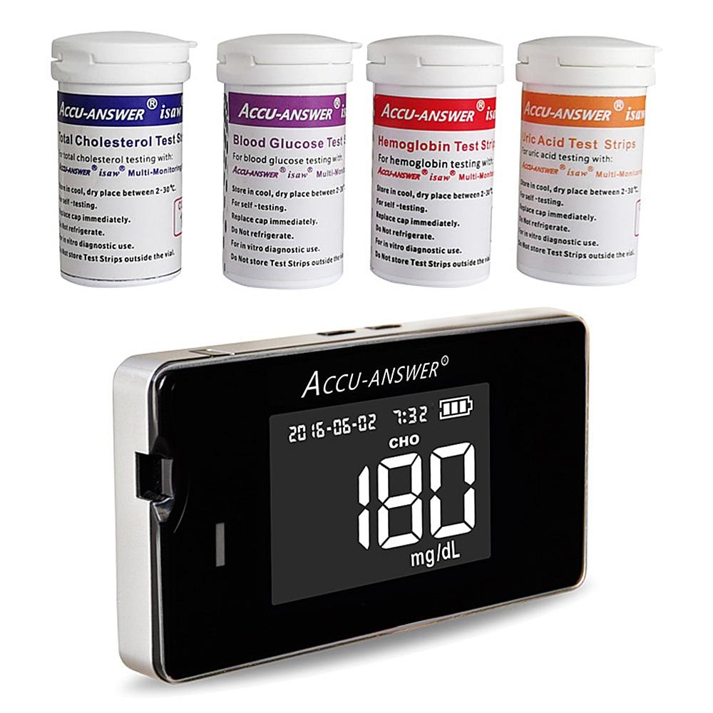 4 in1 Quick Test Cholesterol&Hemoglobin&Uric acid&Blood Glucose Meter glucometer kit Diabetes Gout Monitor&Test Strips&Lancets