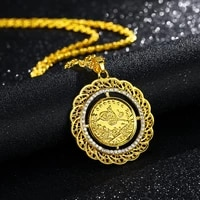 muslim islamic rune round pendant necklace womens necklace fashion metal crystal inlaid sweater chain accessories party jewelry