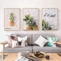 Affiches de peinture sur toile pour decoration de noel  ananas jaune  fruits  tableau dart mural pour salon  decoration de maison