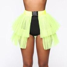 Maille plissée Patchwork Mini jupe femmes solide boucle sangle bulle jupe mode nuit fête vêtements voir à travers la jupe pour dame