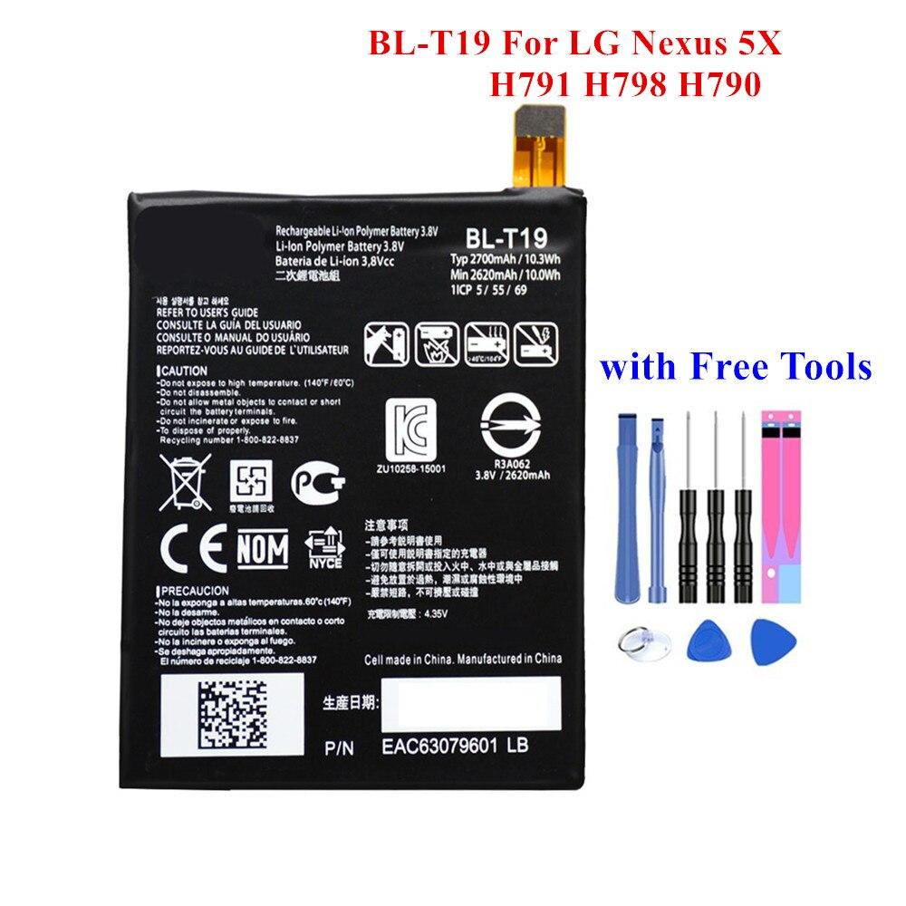New Spare Battery BL-T19 for LG Nexus 5X H791 H798 H790 BLT19 2620/2700mAh Real Capacity Built-in Batteria Akku +Free Tools