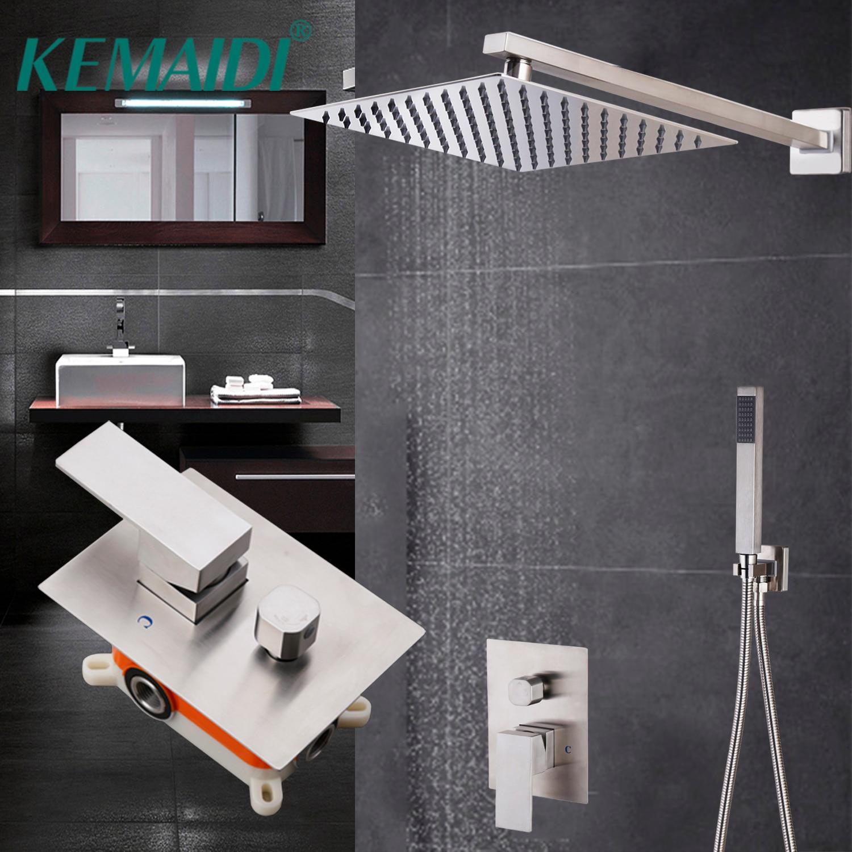 KEMAIDI-رأس دش فائق النحافة مقاس 10 بوصات ، مجموعة من حنفيات النيكل المثبتة على الحائط ، ودش مطري ، ومجموعة خلاط