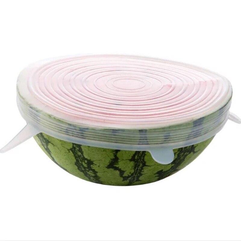 6 unids/set tapas elásticas de silicona reutilizables tapa universal recipiente de silicona para envolver alimentos tapa de silicona para cocinar tapones de cocina