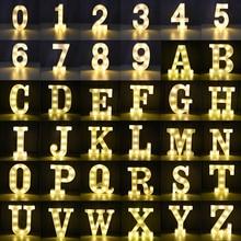 Luminous LED Letter Number Night Light English Alphabet Number Battery Lamp Romantic Wedding Christmas Party Decoration