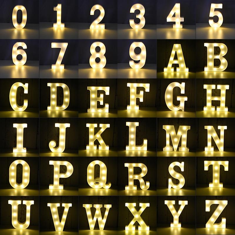 LED Lumineuse LETTRE Numéro Veilleuse Anglais Alphabet Numéro Batterie Lampe Romantique De Mariage Décoration De Fête De Noël