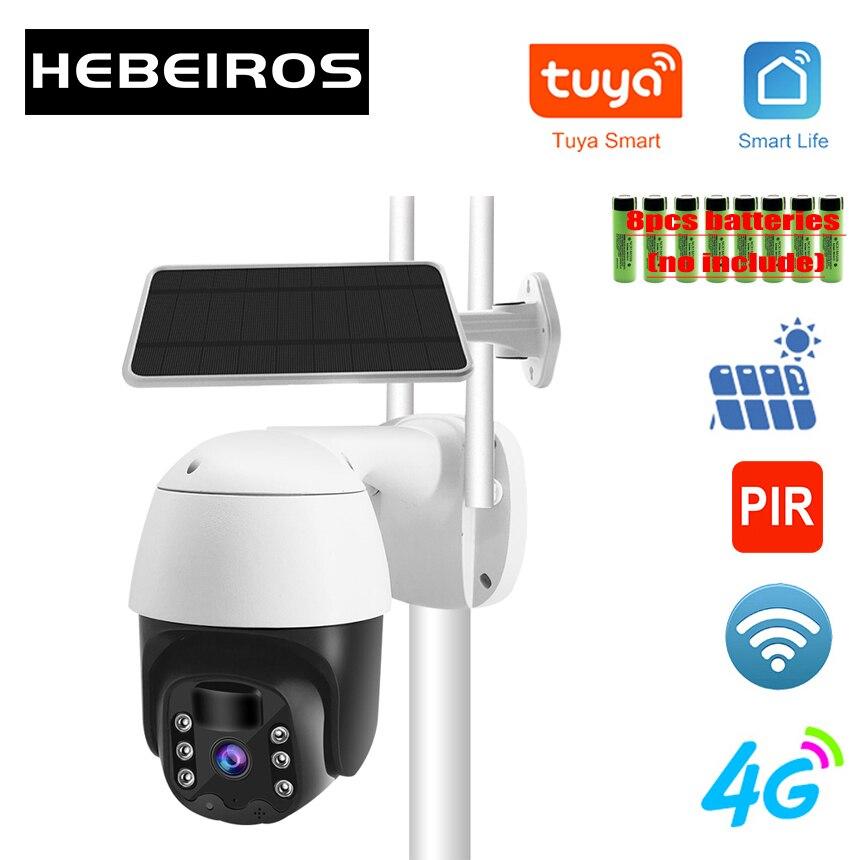Hebeiros 2MP تويا GSM 4G سيم البطارية الشمسية IP كاميرا متحركة 1080P في الهواء الطلق مقاوم للماء 4x التكبير الرقمي واي فاي كاميرا مراقبة بالدوائر التليفز...