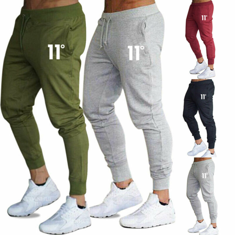 Hot sale solid casual Mens Casual Slim Fit Tracksuit Sports Solid Male Gym Cotton Skinny Joggers Swe