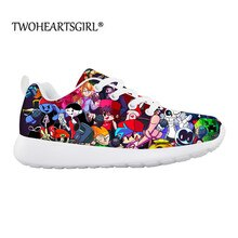 Summer Sneakers for Kids Girl Boys Friday Night Funkin Print Casual Flats Cartoon Lace-up Shoes Ligh
