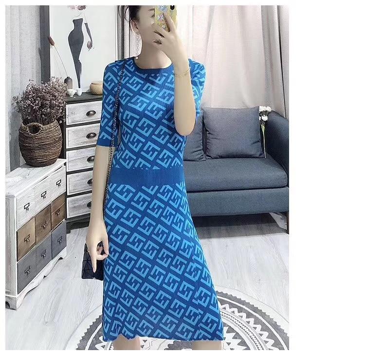 HOT SELLING Miyake Fashion geometric print  sequined o-neck fold dress straight dress IN STOCK