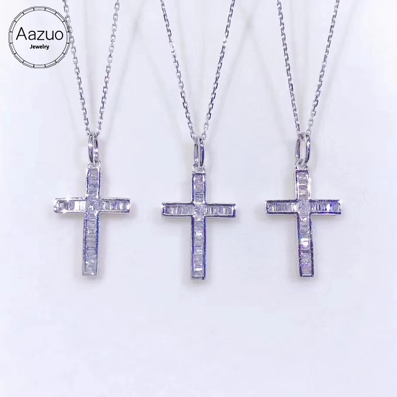 Aazuo-قلادة من الذهب الأبيض عيار 18 قيراطًا مرصعة بالألماس على شكل صليب للنساء ، مجوهرات الزفاف ، Au750 ، 100%
