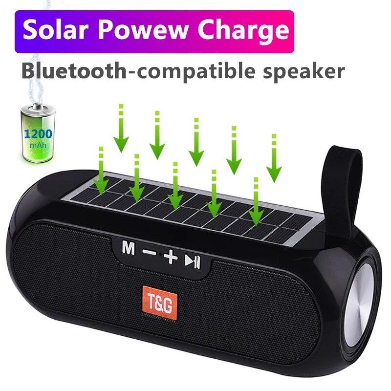 الطاقة الشمسية شحن بلوتوث متوافق المتكلم المحمولة العمود اللاسلكية ستيريو صندوق تشغيل الموسيقى في الهواء الطلق مقاوم للماء altavoes