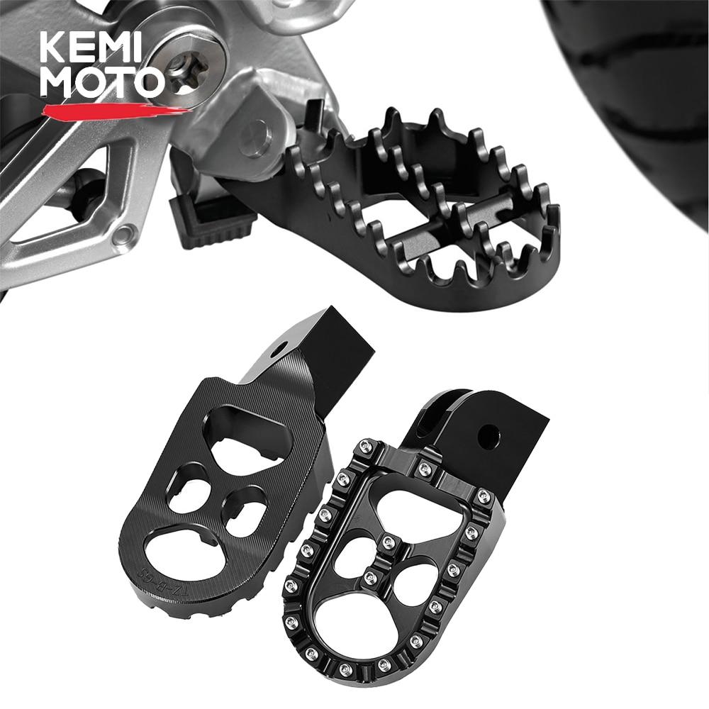 KEMIMOTO-دواسات قدم عريضة CNC Billet ، لسيارات BMW R1200GS LC ADV F750GS F850GS ، Footpegs R 1200 GS Adventure ، أسود