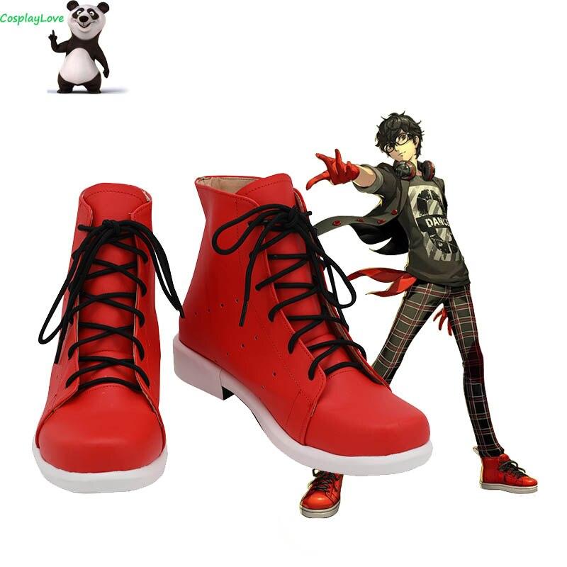 Persona 5 estrella bailarina noche protagora Akira Kurusu Ren Amamiya rojo Cosplay zapatos Botas Largas cuero hecho a medida CosplayLove