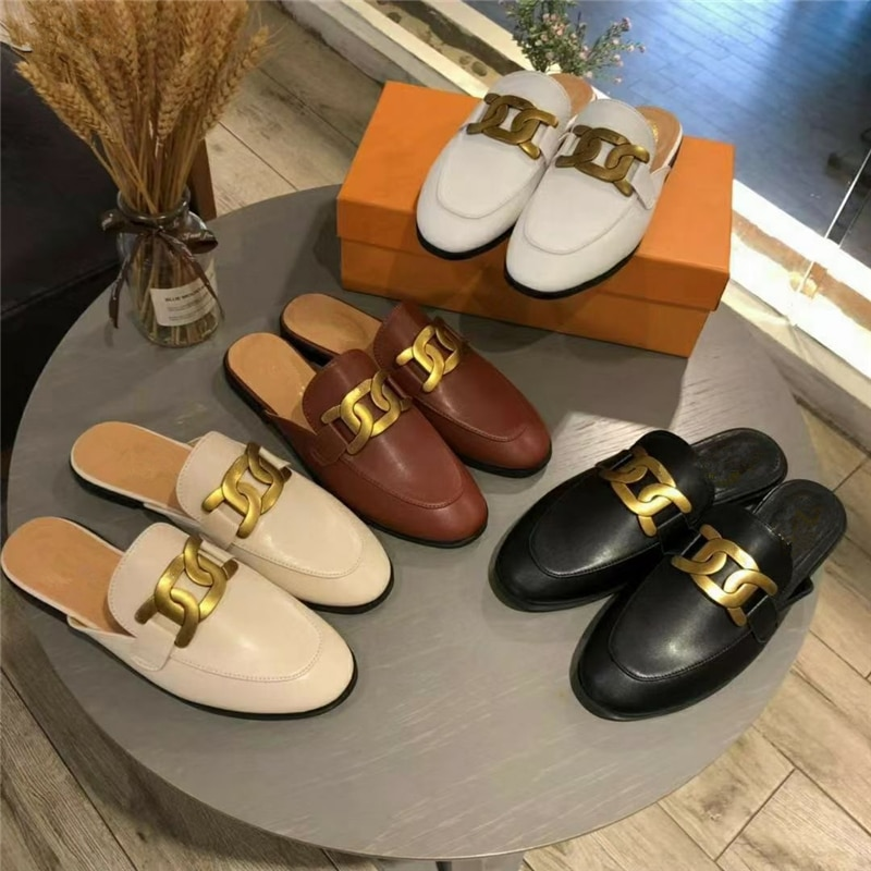 2021 European and American new style ladies Muller shoes metal decorative flat slippers