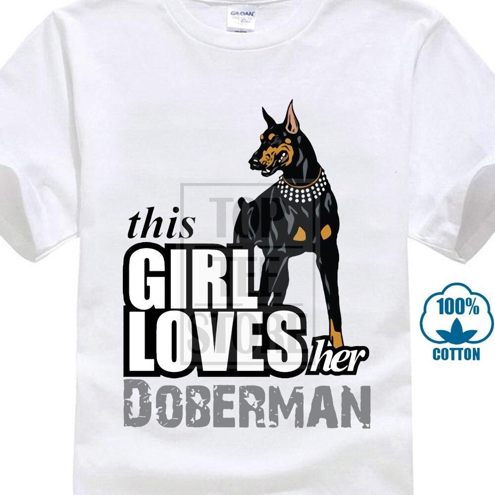 Esta chica ama su perro dóberman ropa linda camisetas de los hombres 100% de algodón de manga corta Camiseta de cuello redondo para hombre Retro