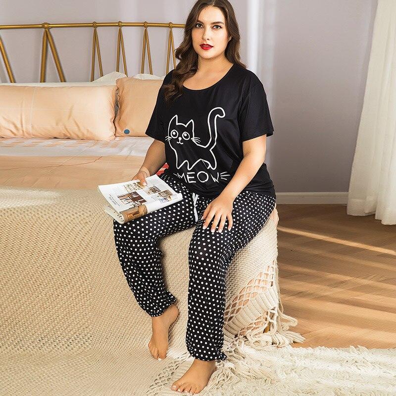 بيجامة نسائية مطبوعة برسومات كرتونية للقطط ، ملابس نوم ناعمة بأكمام قصيرة ، مقاس كبير 4XL ، ملابس منزلية للخريف