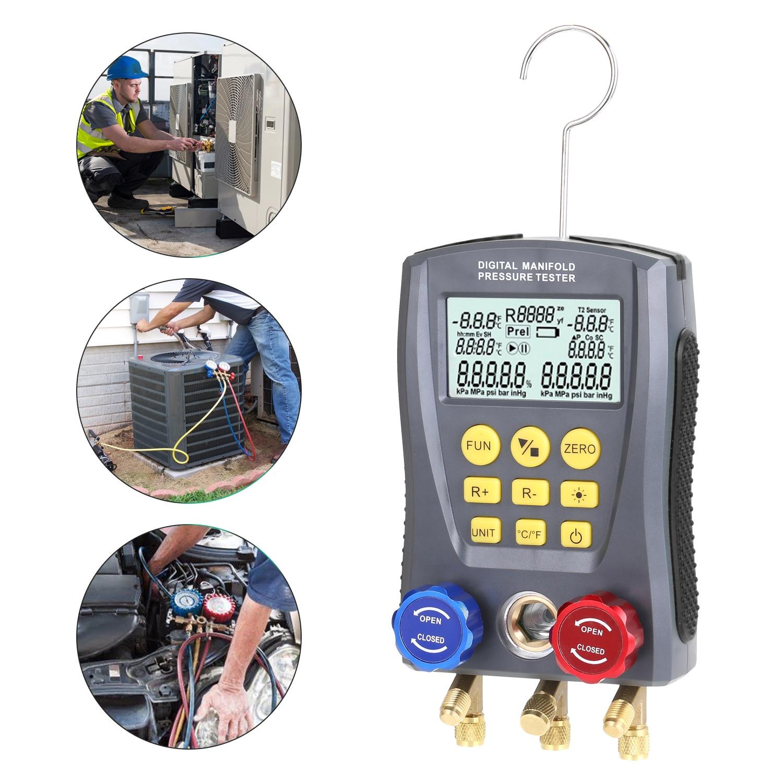 مقياس ضغط الفراغ الرقمي ، مقياس الضغط ، مشعب التبريد ، مقياس درجة الحرارة