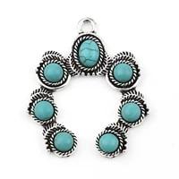 doreenbeads retail 2 pcs fashion irregular imitation turquoise pendants for women jewelry neckalce making findings 43mm x 36mm