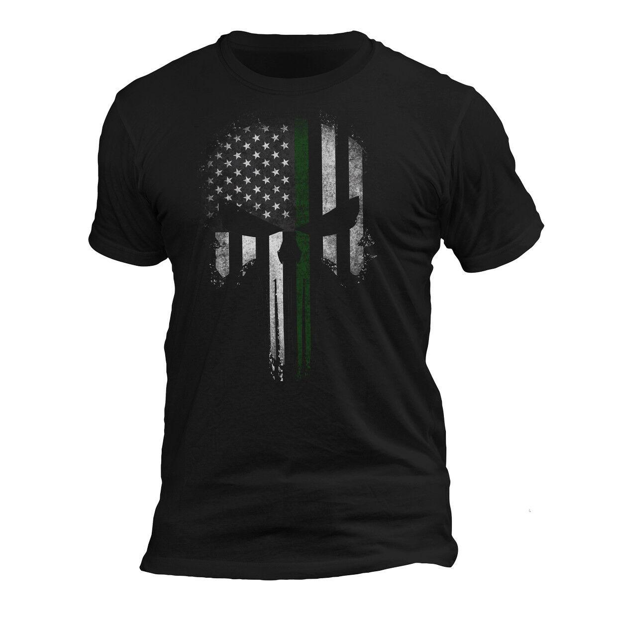 США патриотическая Военная Тактическая тонкая зеленая линия Каратель череп футболка
