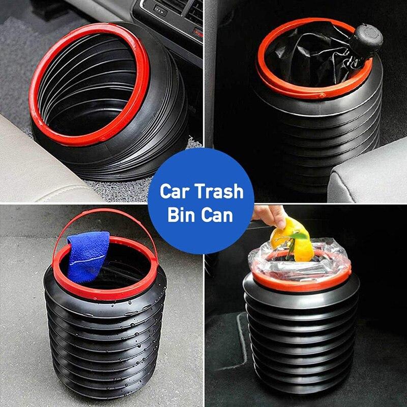 Cubo de basura de coche multifuncional, papelera retráctil portátil de almacenamiento para coche, cubo de agua para pesca al aire libre, cubo de basura plegable para coche