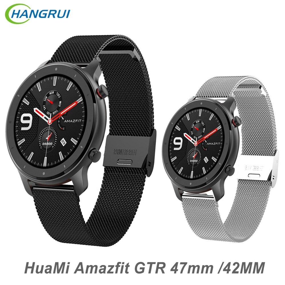 22MM correa de Metal para Xiaomi HuaMi Amazfit GTR 47mm pulsera 20MM correa de acero inoxidable para Amazfit GTR 42mm reloj inteligente
