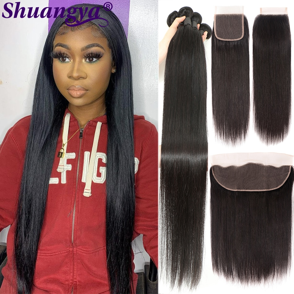Transparent Lace Straight Hair Bundles With Frontal 100% Remy Human Hair Preuvian Straight Hair Bundles With 5x5 HD Lace Closure