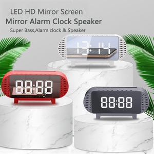 LED Alarm Clock With FM Radio Wireless Bluetooth Speaker Mirror Display Support TF AUX Music Player Wireless For Office Home