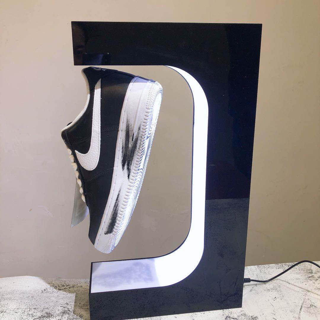 Acrylic Fashion Levitating Magnetic Floating Shoes Display Stand, Shop 360° Display for Shoes Fancy Sever Shoes Display Unit enlarge