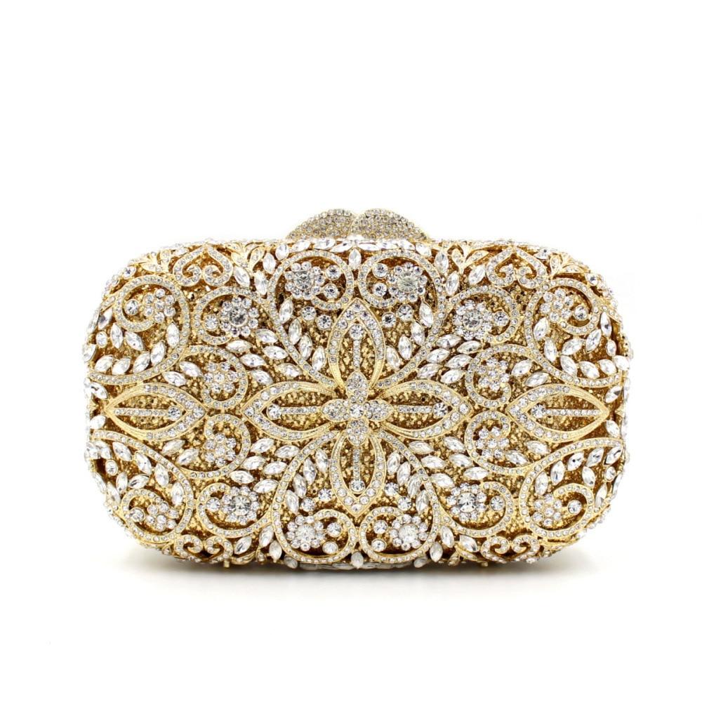 حقيبة سهرة نسائية من حجر الراين ، 17.5 × 10.5 سنتيمتر ، حقيبة كلاتش معدنية فارغة ، صناعة يدوية ، a5897
