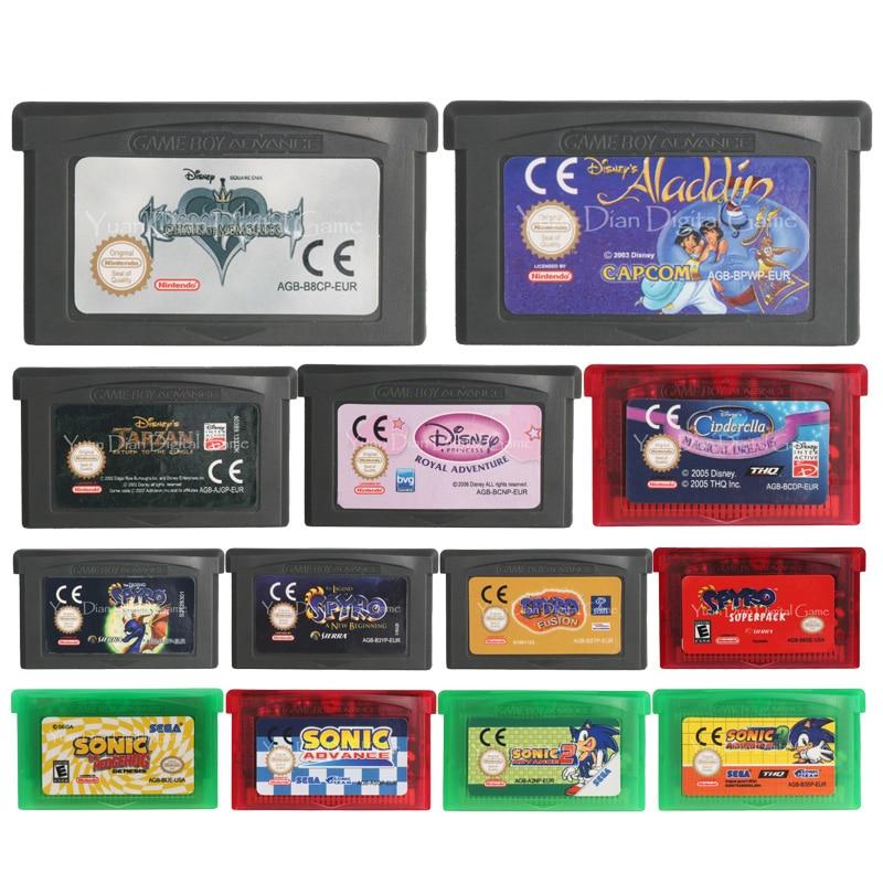 32 бит видеоигры картридж Консоли Карты Spyro/Sonic серии США/ЕС Версия для nintendo GBA