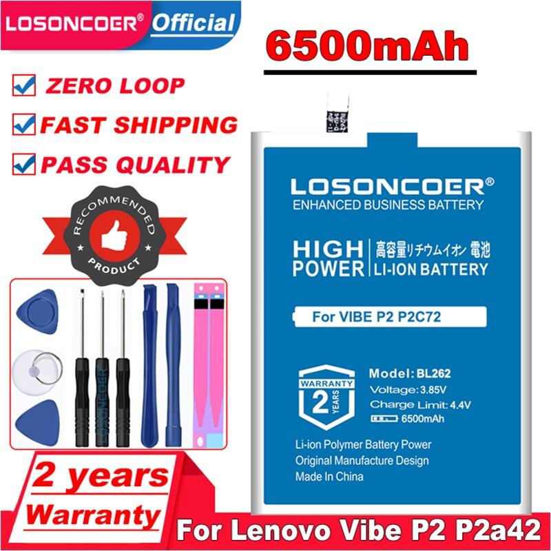 Batería LOSONCOER 6500mAh BL262 para Lenovo Vibe P2 p2a42 P2a40 p2c72 C72 A42 batería de teléfono móvil + herramientas gratis