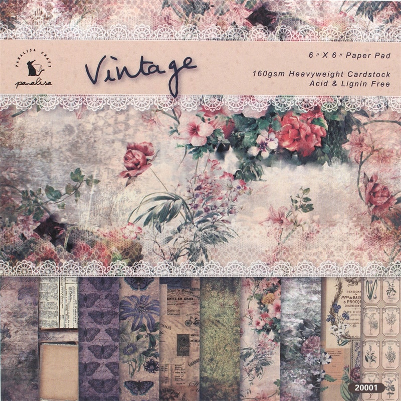 ZFPARTY 12 hojas Vintage almohadillas álbum de recortes papel Origami papel de fondo artístico tarjeta que hace papel para álbum de recortes DIY Craft