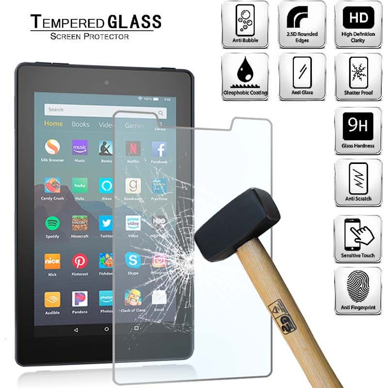 Tablet Tempered Glass Screen Protector Cover for Amazon Fire 7 (9th Gen 2019) Alexa HD Eye Protection Anti-Scratch Tempered Film