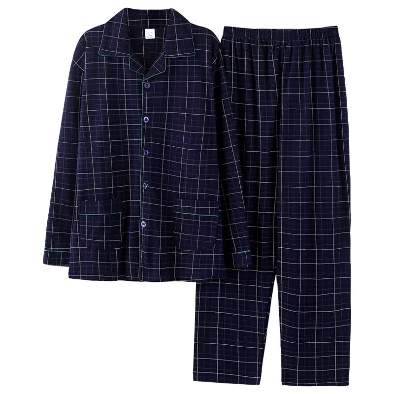 Зима 100% 25 хлопок пижамы для мужчин 2шт гостиная одежда для сна мужчины синий плед пижама домашняя одежда 2020 дом одежда чистый хлопок пижамы комплект