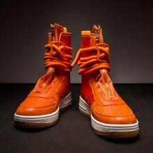 Unisexe Super cool étoile style baskets hommes fermeture éclair cheville Botas Masculina formateurs chaussures Chaussure Homme haut bottes de rue