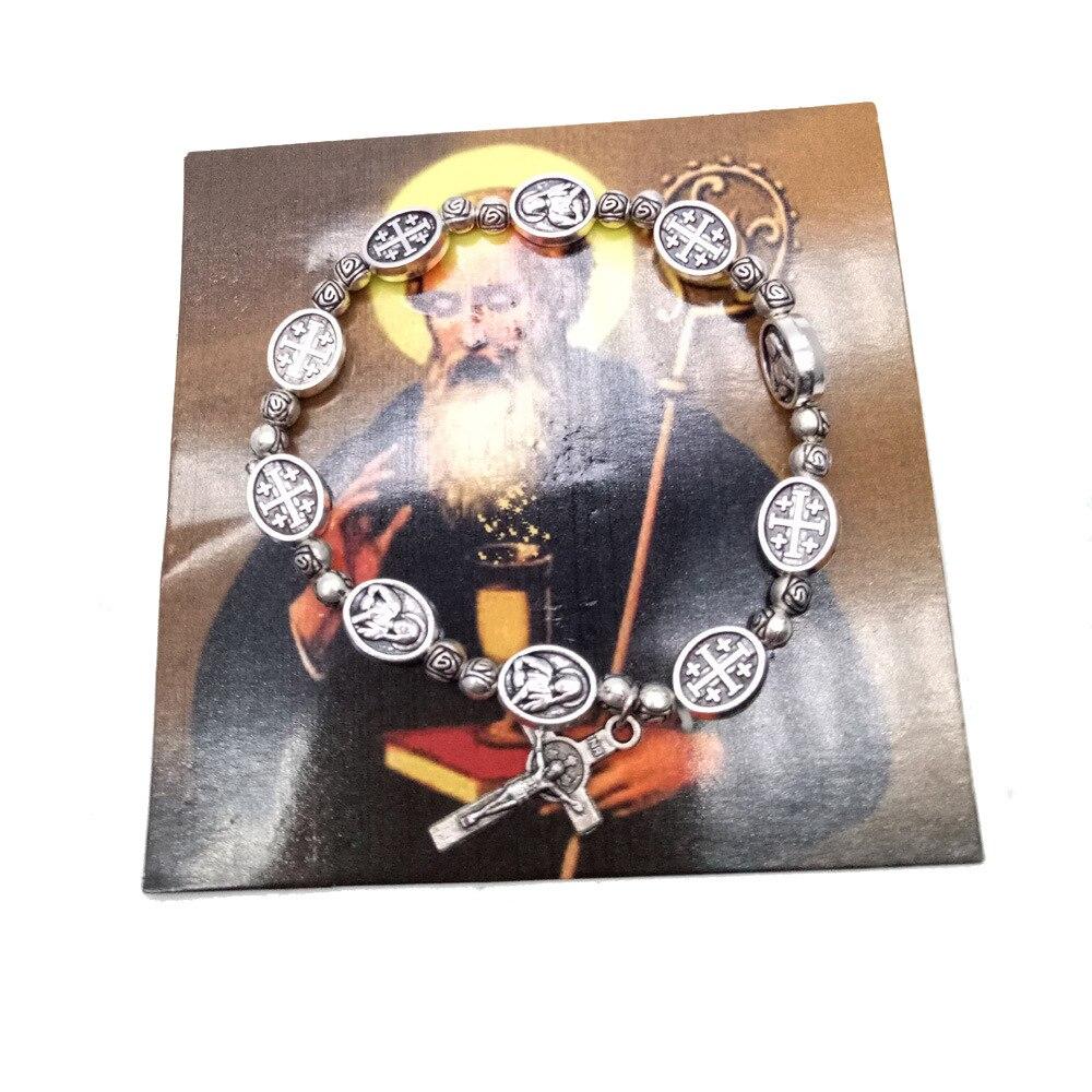Pulsera brazalete de aleación elástica de moda brazalete de aleación Jesús joyería pieza central para Rosario sagrado misericordia Jesús Santo iconos religiosos