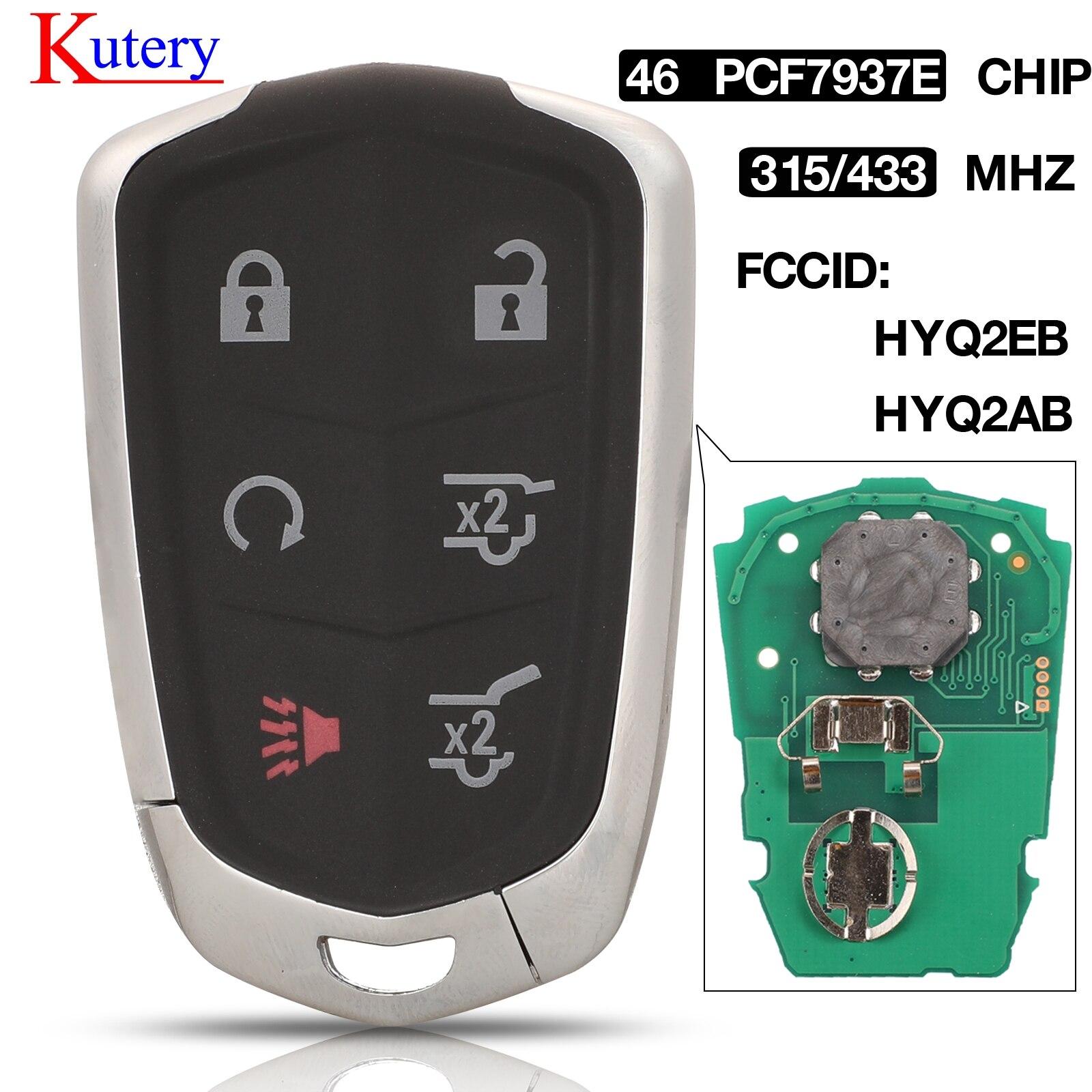 Kutery 6 botões hyq2ab chave do carro remoto inteligente 315 mhz hyq2eb 433 mhz id46 chip para cadillac escalade esv 2015 2016 2017 2018 2019