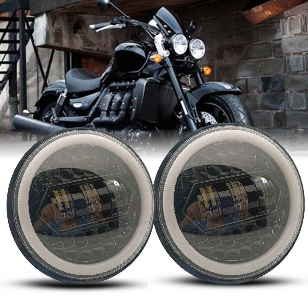 2 قطعة 130 واط 5 3/4 بوصة 5.75 بوصة LED المصباح العارض DRL هالو دراجة نارية ل Triumph Rocket 3 Thunderbird