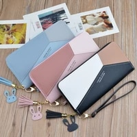 geometric luxury winter leather wallets women long zipper coin purses tassel design clutch bag female money credit card holder
