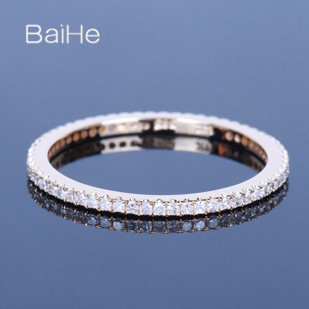 BAIHE الصلبة 14K الذهب الأصفر 0.29CT H/SI جولة الماس الطبيعي خاتم الخطوبة المرأة العصرية الجميلة مجوهرات خاتم الماس